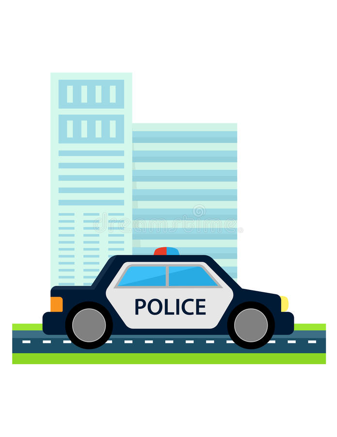 Coche policía con estructura de la oficina stock de ilustración