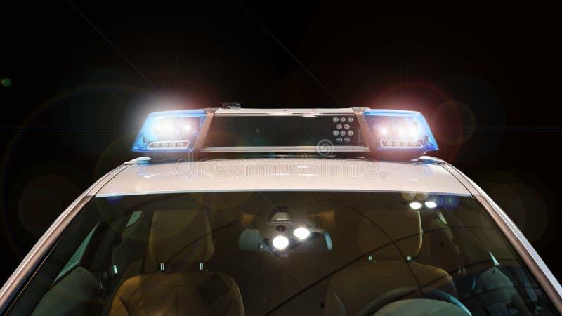Coche policía con las luces y la sirena de destello fotos de archivo