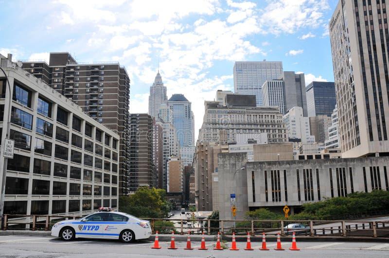 Coche policía de New York City imagenes de archivo