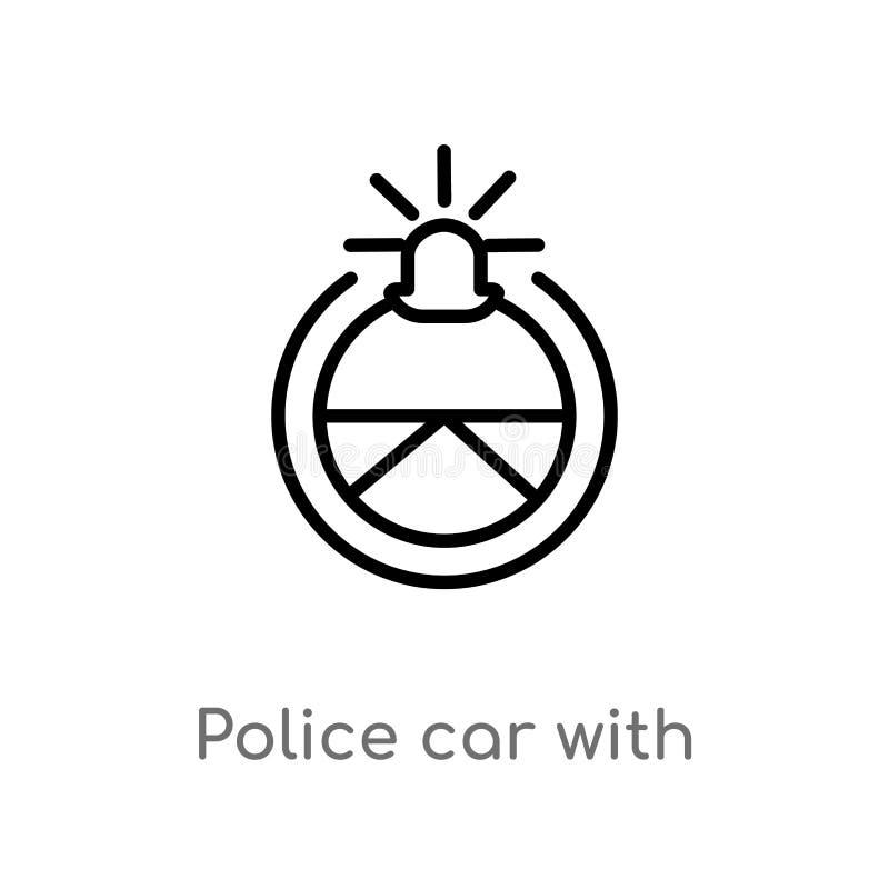 coche policía del esquema con el icono del vector del volante r stock de ilustración