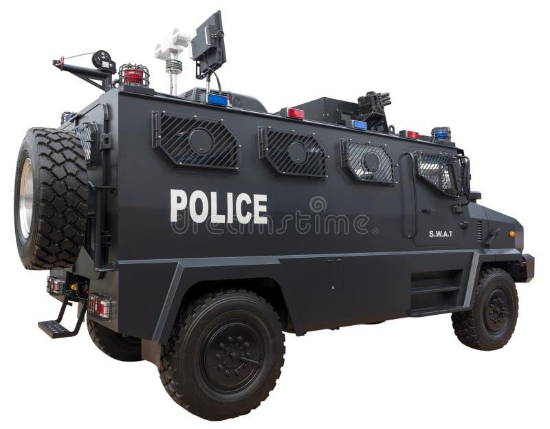 Coche policía del GOLPE VIOLENTO fotos de archivo