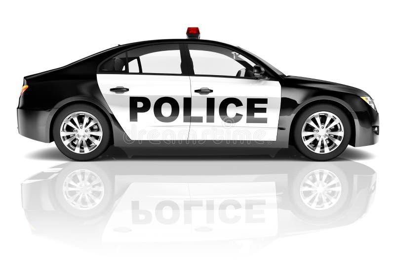 coche policía del negro 3D en blanco ilustración del vector
