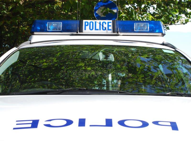 Coche policía estacionado imagen de archivo