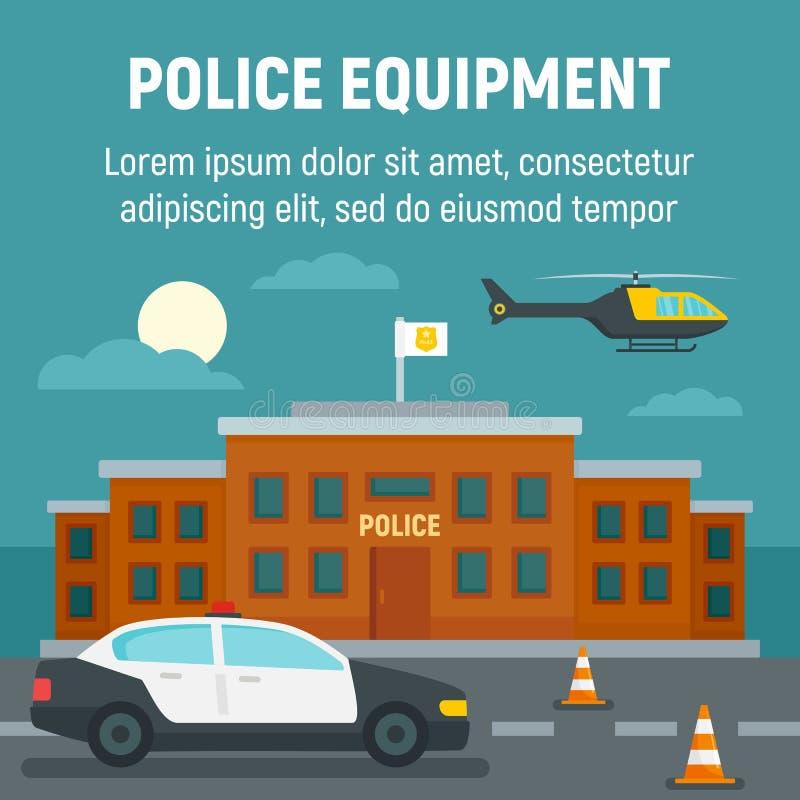 Coche policía, helicóptero, fondo del concepto del edificio de oficinas, estilo plano libre illustration