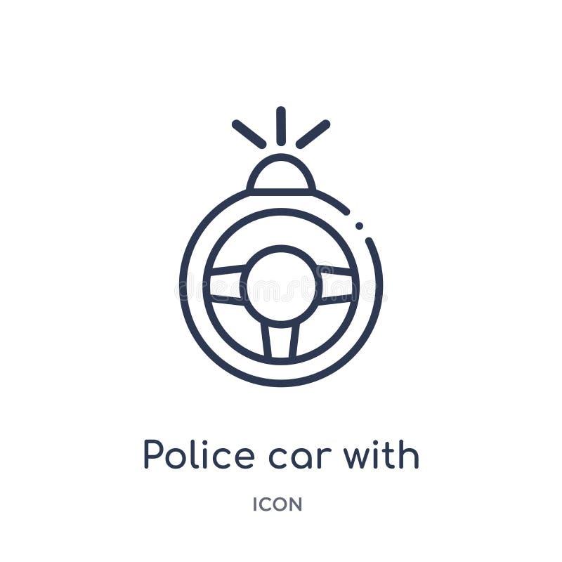 Coche policía linear con el icono del volante de la colección del esquema de Mechanicons Línea fina coche policía con el icono de libre illustration