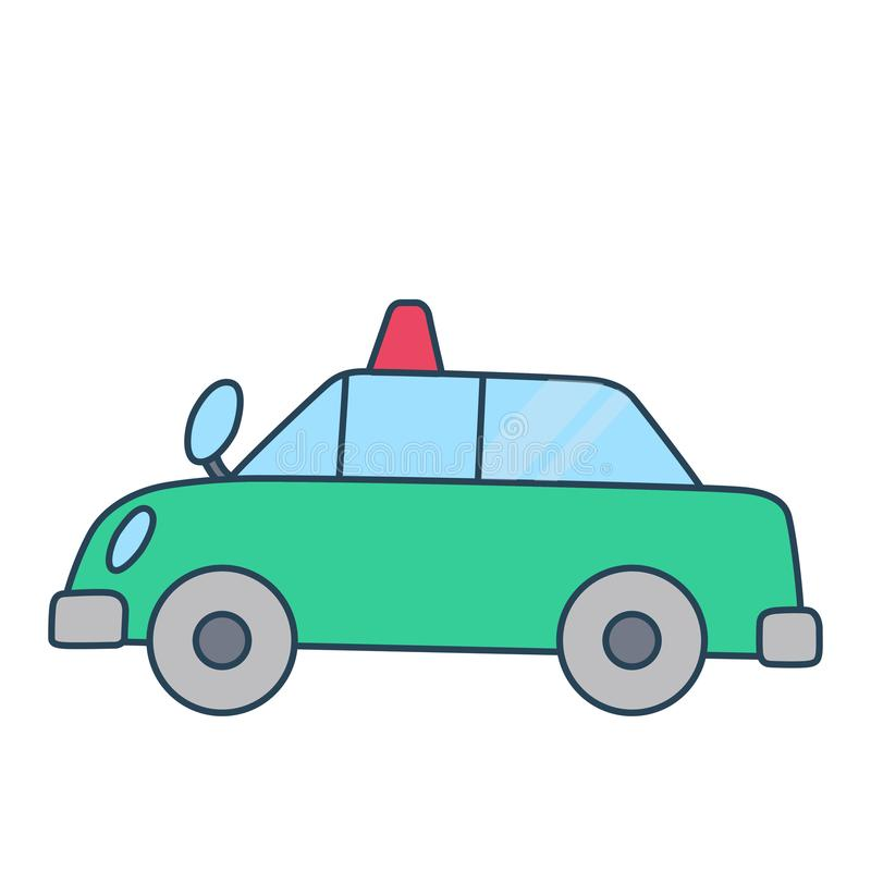 Coche policía simple linear separado en el espacio blanco libre illustration