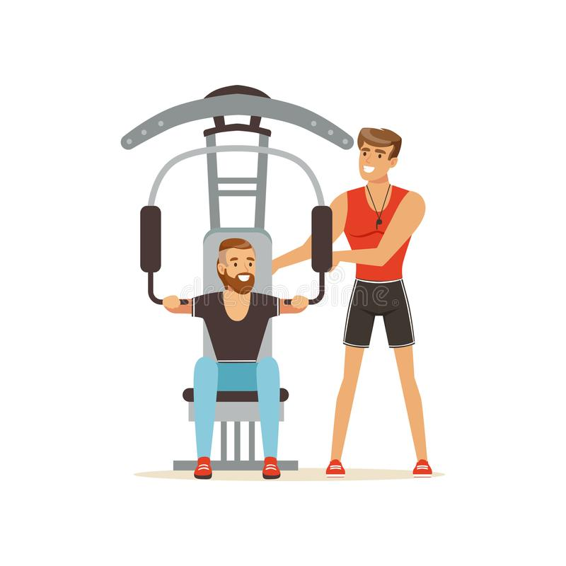 Coche profesional y hombre de la aptitud que doblan los músculos en la máquina del gimnasio del instructor, gente que ejercita ba ilustración del vector