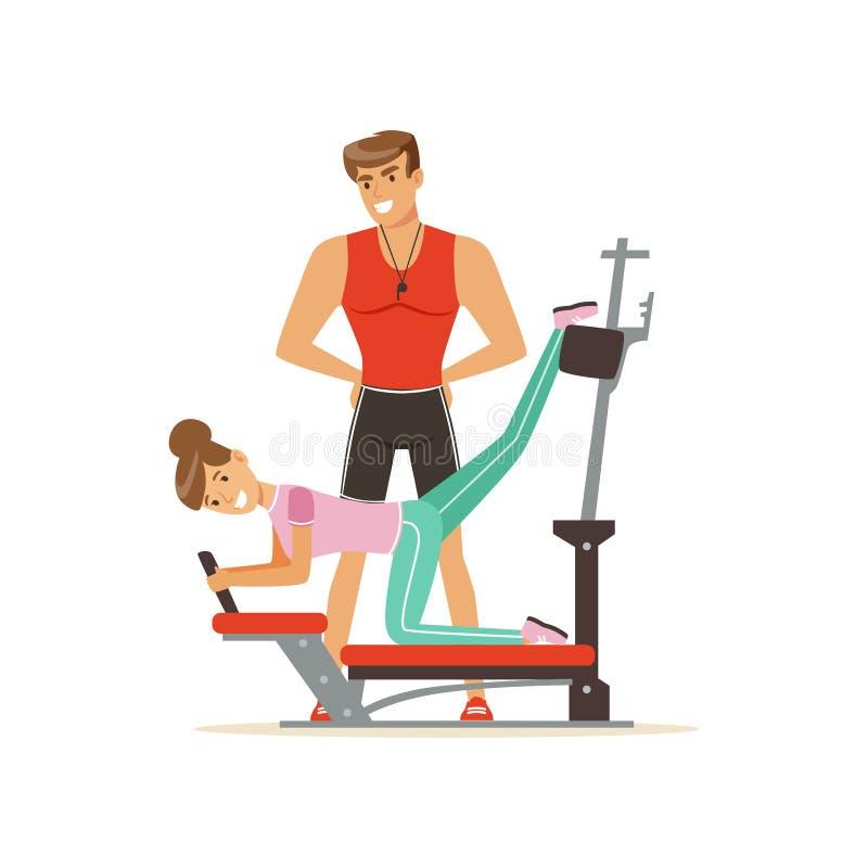 Coche profesional y mujer que ejercitan en la máquina del gimnasio del instructor, gente de la aptitud que ejercita bajo control  libre illustration