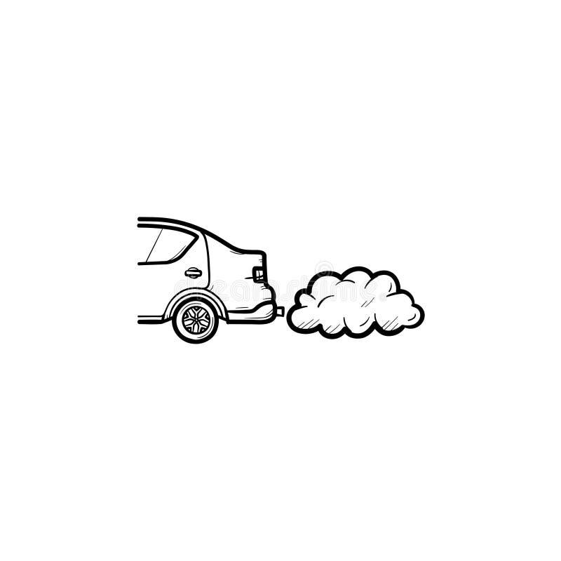 Coche que emite el icono dibujado mano del garabato del esquema de los humos de extractor ilustración del vector