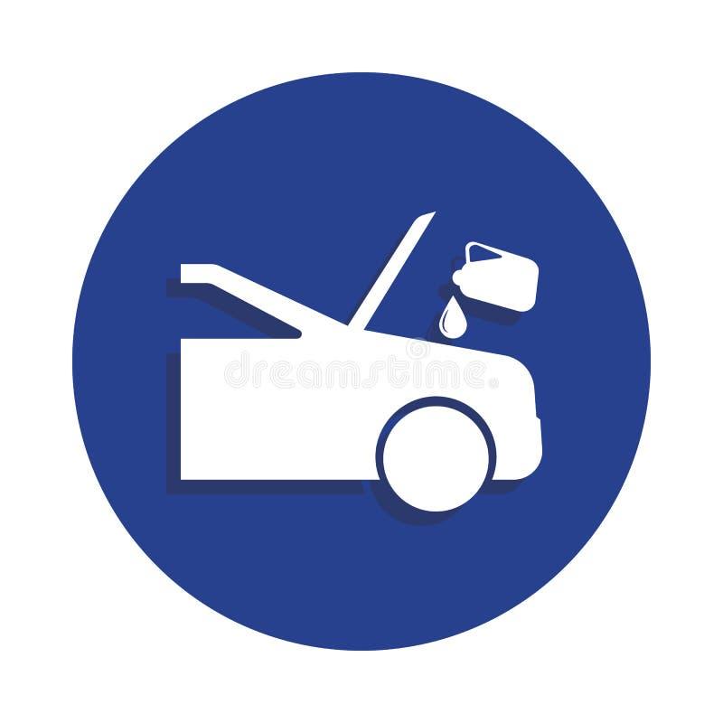 coche que es dado el líquido para el icono del mantenimiento en estilo de la insignia Uno del icono de la colección de la reparac stock de ilustración