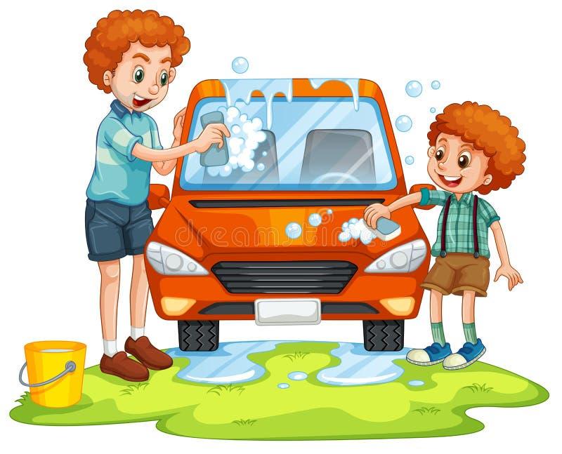 Coche que se lava del padre y del hijo stock de ilustración