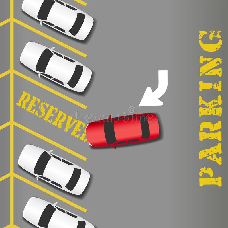 Coche reservado del éxito empresarial del estacionamiento stock de ilustración