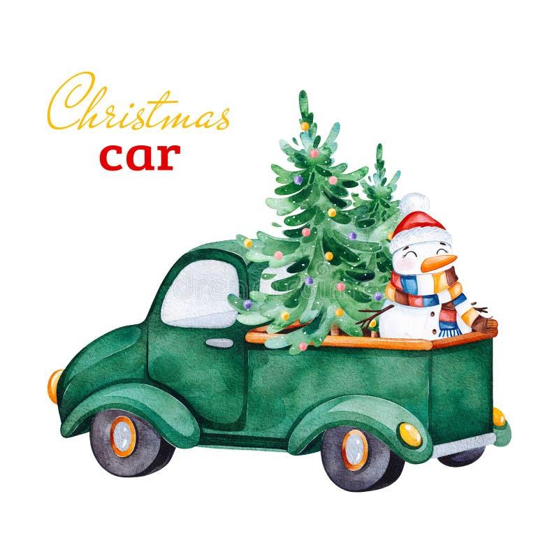 Coche retro abstracto de la Navidad con el árbol de navidad, los muñecos de nieve y otras decoraciones ilustración del vector
