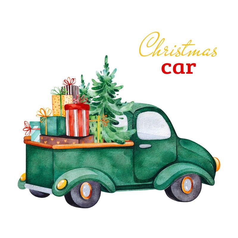 Coche retro abstracto de la Navidad con el árbol de navidad, los regalos y otras decoraciones stock de ilustración