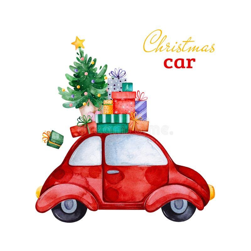 Coche retro abstracto de la Navidad con el árbol de navidad, los regalos y otras decoraciones libre illustration
