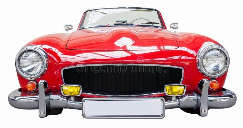 Coche retro clásico rojo de aislado en el fondo blanco imagen de archivo