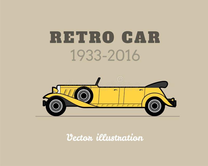 Coche retro del cabriolé de la limusina, colección del vintage libre illustration