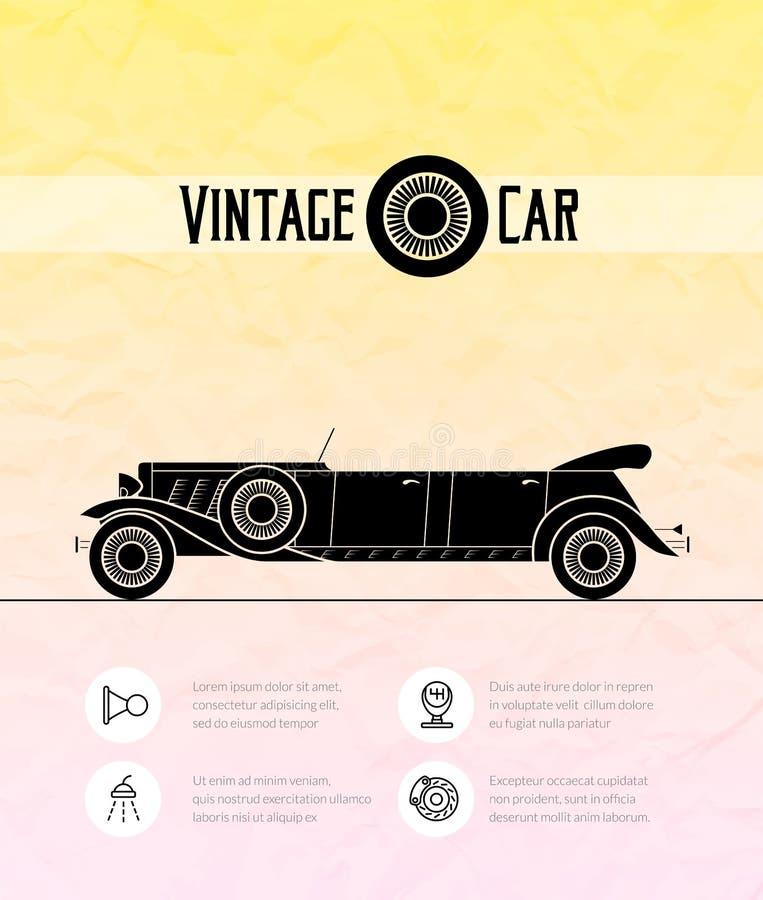 Coche retro del cabriolé de la limusina, esquema del vintage stock de ilustración
