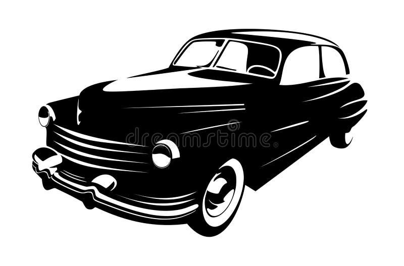 Coche retro del vintage aislado en el fondo blanco libre illustration