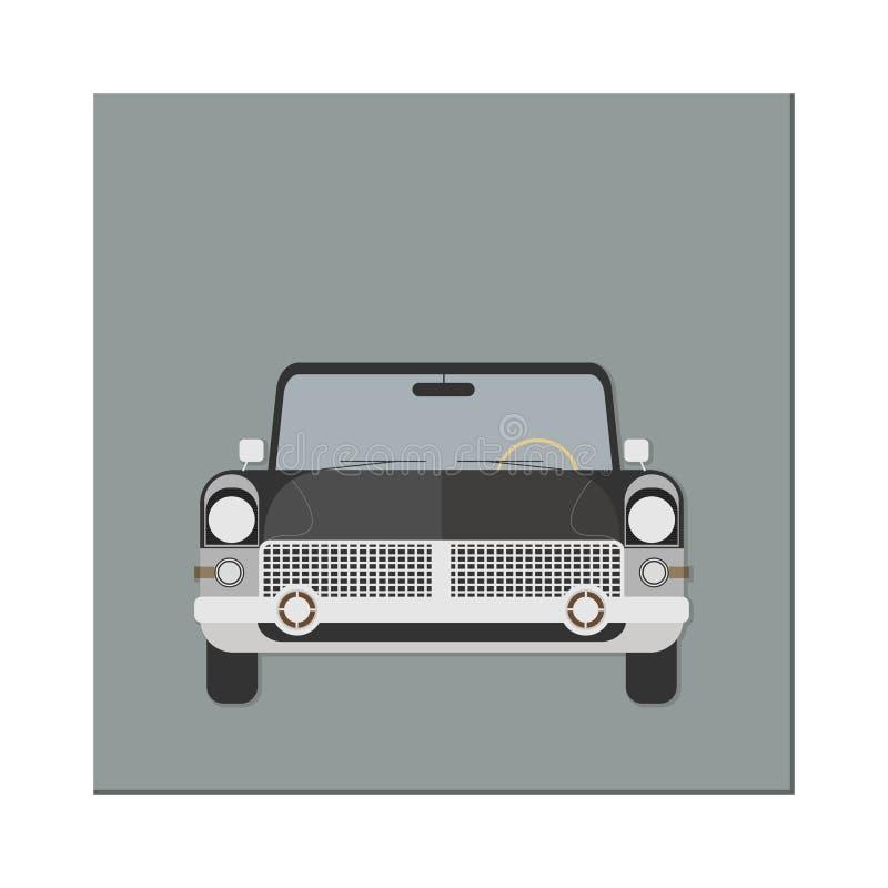 Coche retro Front View limusina Ilustración del vector Diseño plano ilustración del vector