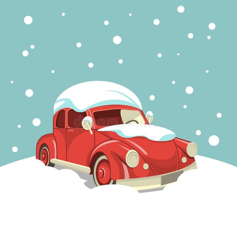 Coche retro hermoso en la nieve en el fondo de nevadas libre illustration
