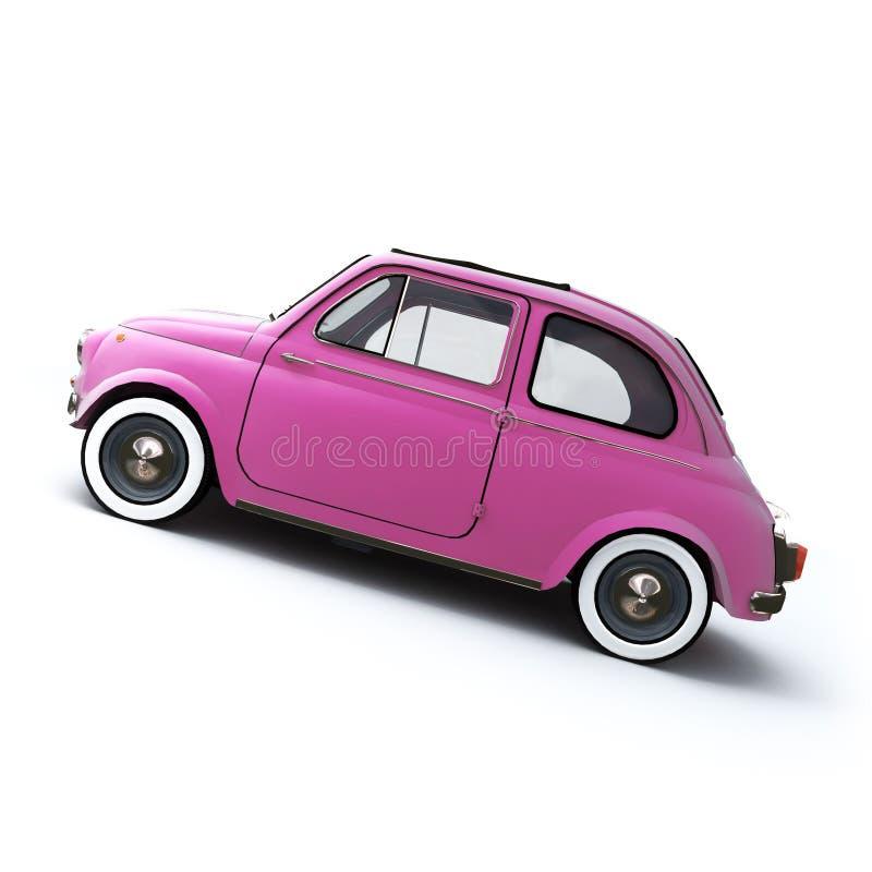 Coche retro rosado stock de ilustración