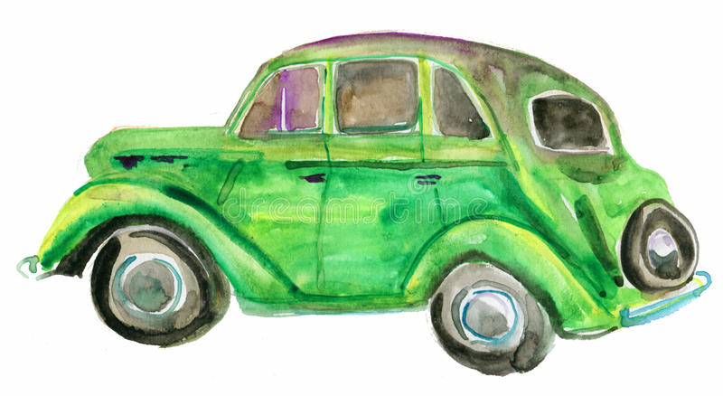 Coche retro verde libre illustration