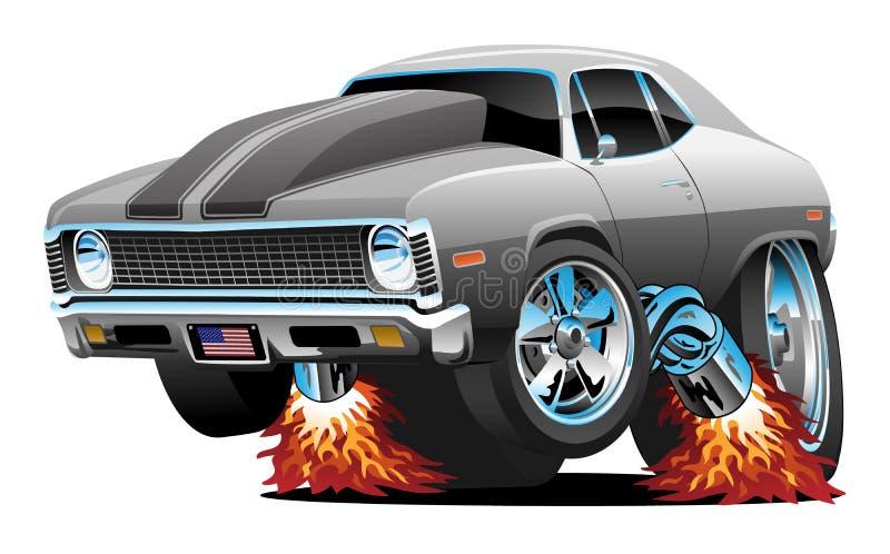 Coche Rod Cartoon Isolated Vector Illustration caliente del músculo stock de ilustración