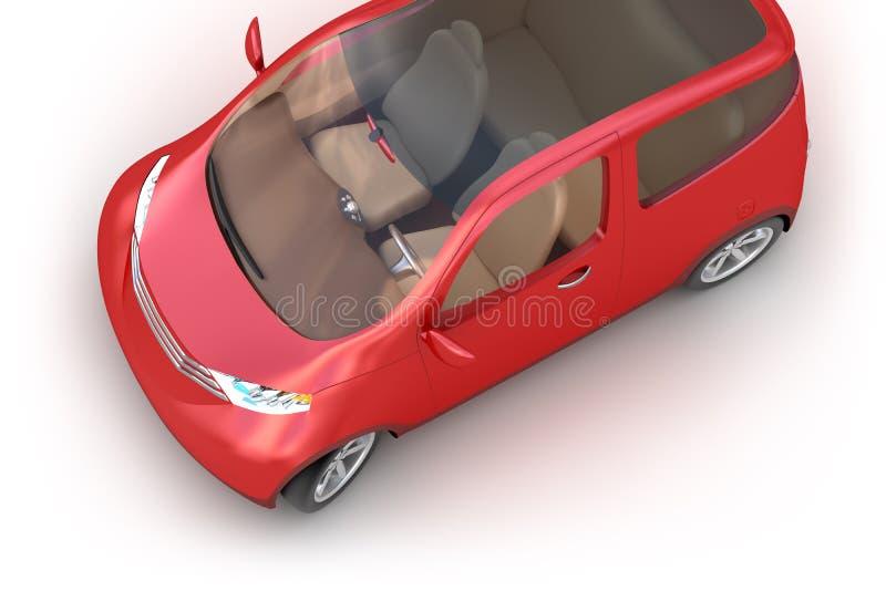 Coche rojo 3d del concepto aislado en blanco ilustración del vector