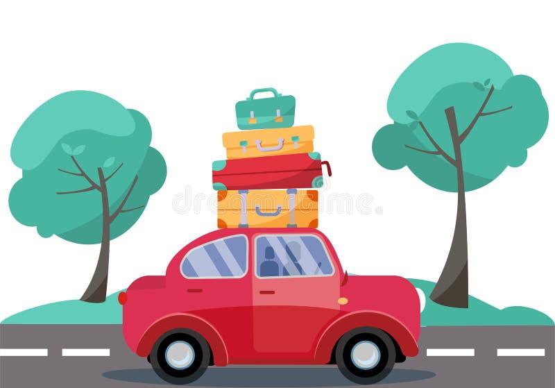 Coche rojo con equipaje en el tejado Familia del verano que viaja en coche Ejemplo plano del vector de la historieta Vista latera stock de ilustración