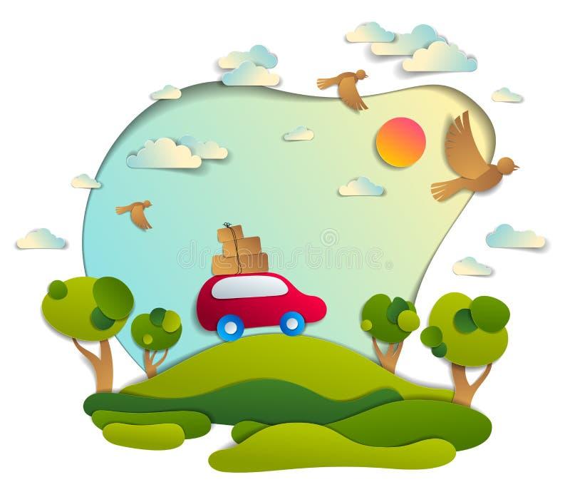 Coche rojo con equipaje en paisaje escénico de la naturaleza, campos y árboles verdes, pájaros y nubes en el cielo, vector del es ilustración del vector