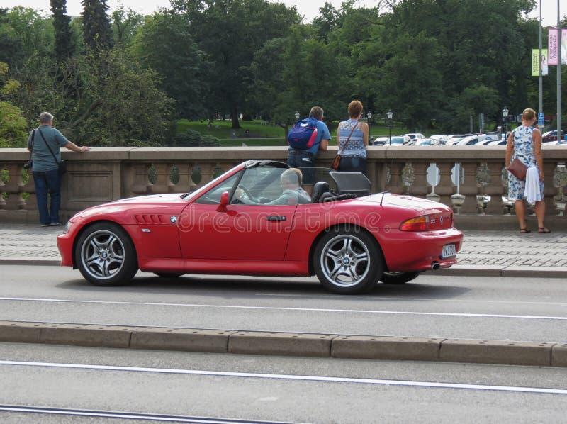 Coche rojo de BMW Z3 en Goteburg fotografía de archivo