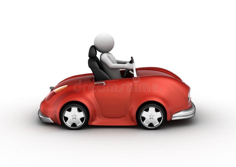 Coche rojo del cabrio conducido por el carácter stock de ilustración