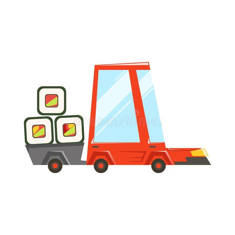 Coche rojo del servicio para llevar rápido de la entrega con el remolque lleno de sushi japonés Rolls que va a entregar la comida ilustración del vector