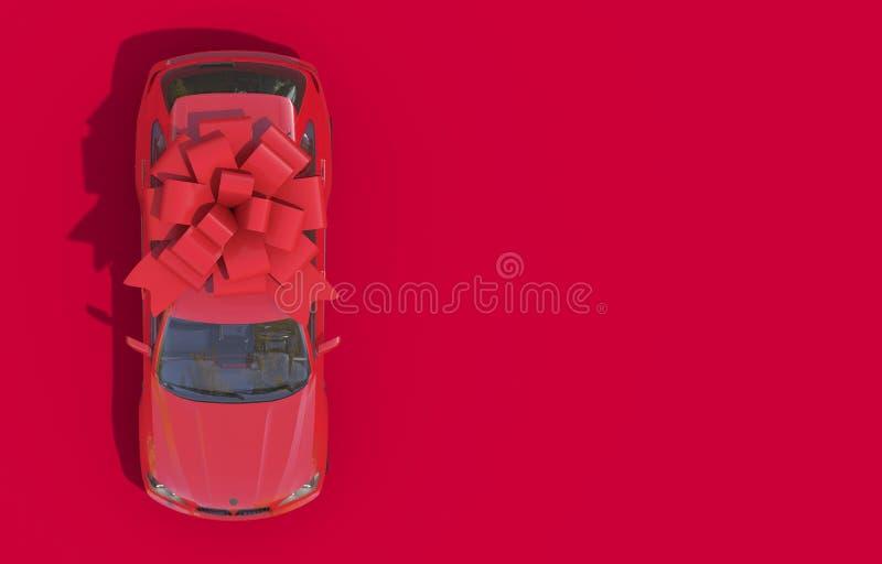 Coche rojo envuelto en un arco rojo de la cinta en un fondo rojo Regalo costoso Visi?n superior 3D rinden en rojo monocromático c foto de archivo libre de regalías