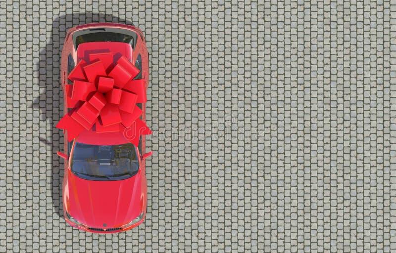 Coche rojo envuelto en una situación roja del arco de la cinta en las piedras de pavimentación Regalo costoso Visi?n superior 3d  libre illustration