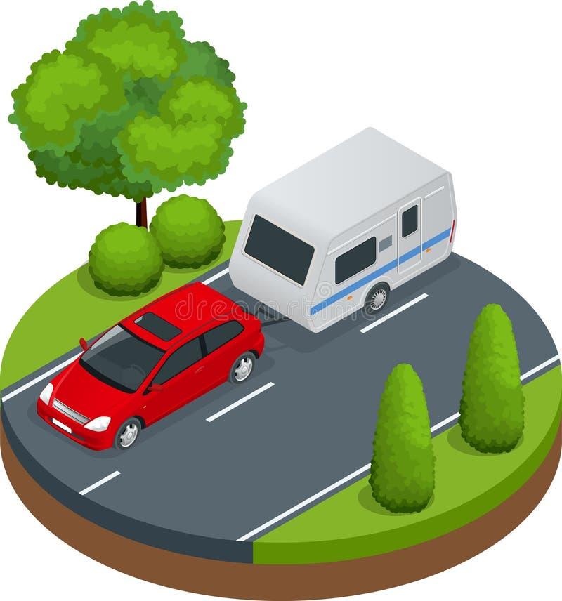 Coche rojo isométrico con el remolque que acampa en el camino concepto del recorrido Vehículos recreativos libre illustration