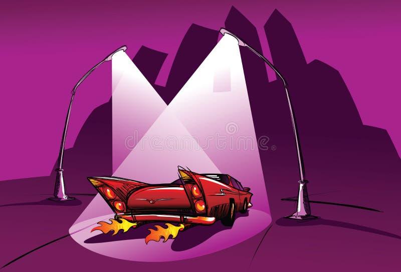 Coche rojo, noche oscura ilustración del vector