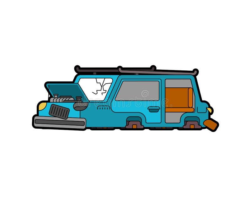 Coche roto aislado Ruedas autos y sopladas Vidrio roto Vec ilustración del vector