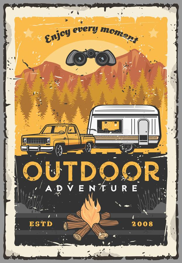 Coche, rv y hoguera Aventura al aire libre, viaje stock de ilustración