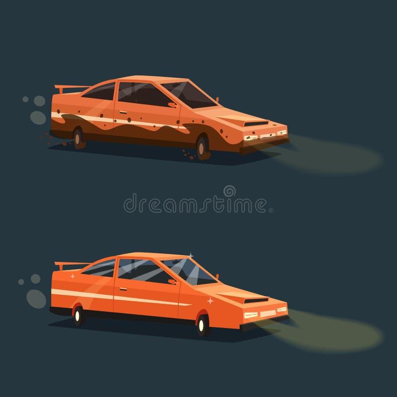 Coche sucio y limpio Automóvil americano Ilustración del vector de la historieta ilustración del vector