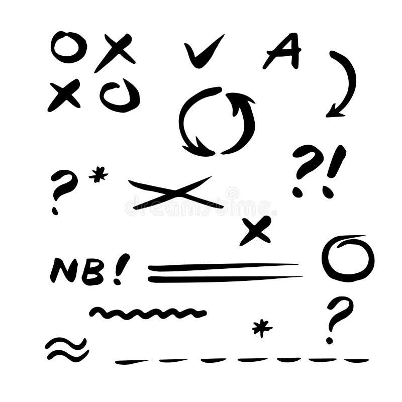 Coche tiré par la main de vecteur Ensemble d'éléments de correction et de point culminant illustration de vecteur