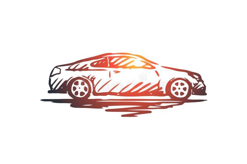 Coche, transporte, vehículo, auto, concepto de la velocidad Vector aislado dibujado mano ilustración del vector