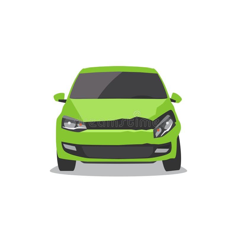 Coche verde dañado Accidente de tráfico ilustración del vector