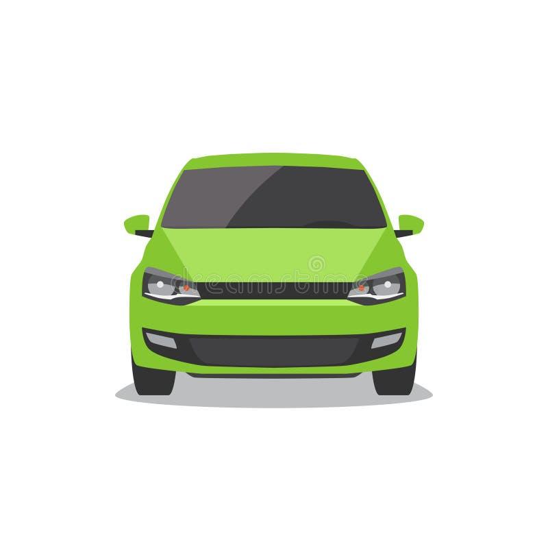 Coche verde del vector Front View ilustración del vector