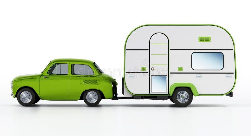 Coche verde del vintage con la caravana Aislado en el fondo blanco ilustración 3D libre illustration