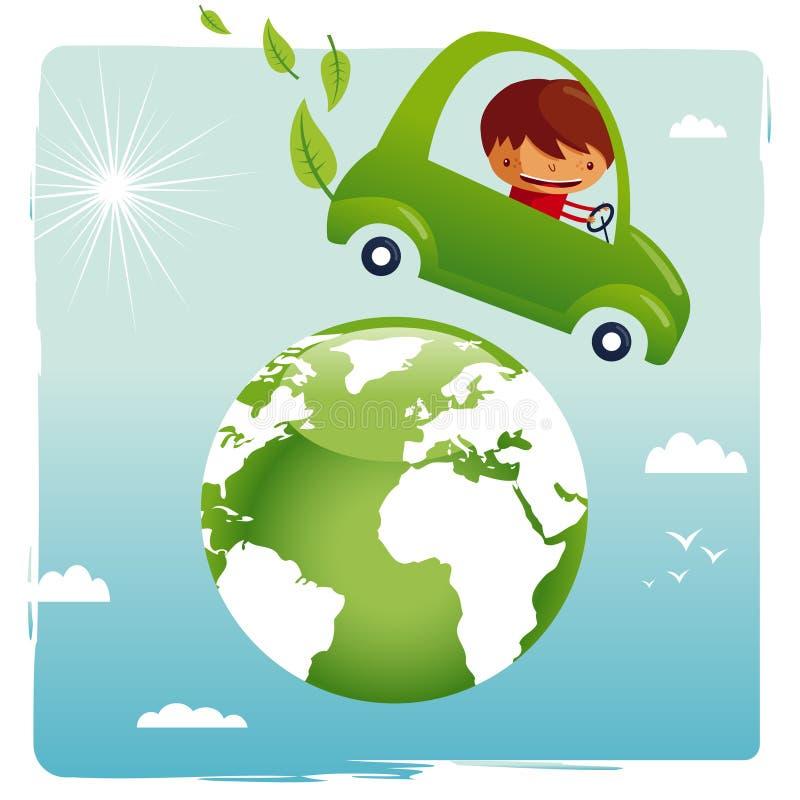 Coche verde - excepto nuestro planeta ilustración del vector