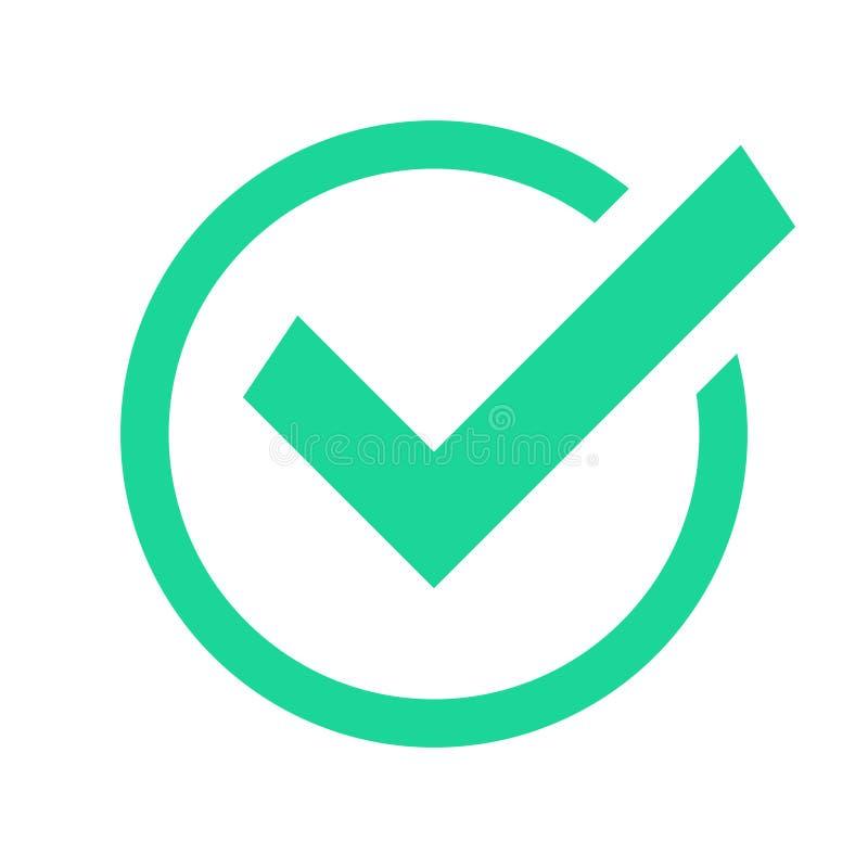 Coche vert de cercle Les marques de coutil de confirmation, marquées conviennent que le signe et vérifié confirment l'icône de ve illustration libre de droits