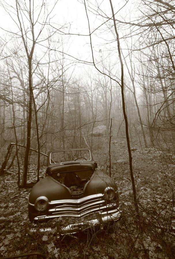 Coche viejo dejado a la putrefacción en las maderas de New Hampshire fotografía de archivo