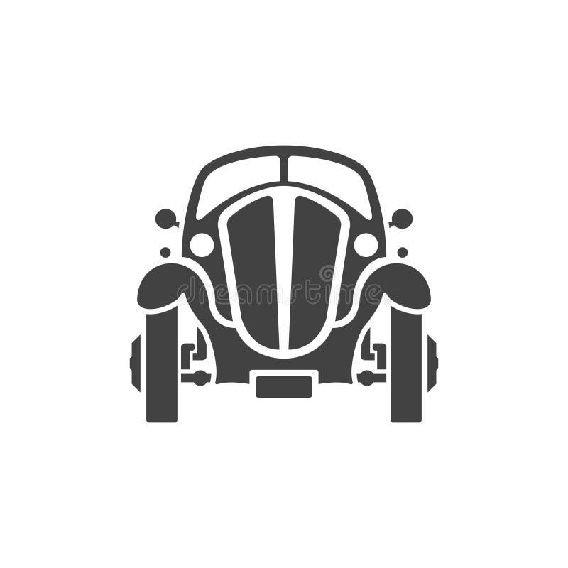 Coche viejo en el icono blanco del vector del fondo en estilo retro ilustración del vector